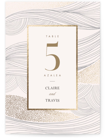 Flowing Stripes Foil-Pressed Table Numbers