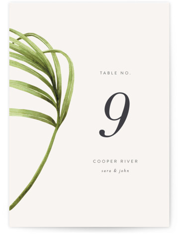 palmetto Table Numbers