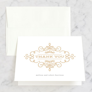 Ornate Monogram Folded Thank You Card