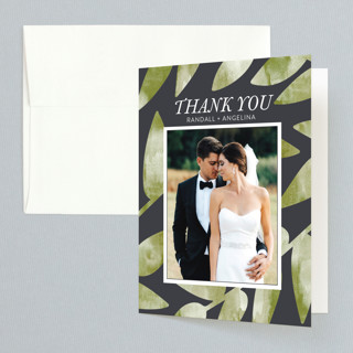 Watercolor Leaf Folded Thank You Card