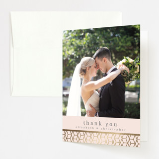 Geometric Pattern Foil-Pressed Folded Thank You Card