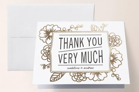 Modern Botanicals Foil-Pressed Folded Thank You Card