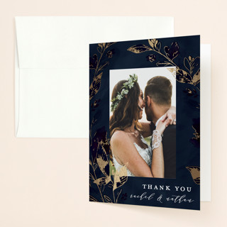 Midnight Vines Foil-Pressed Folded Thank You Card