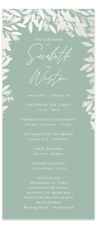 Leaf on Leaf Gloss Press Wedding Program
