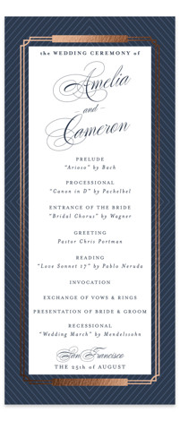 Formal Chic Foil-Pressed Wedding Programs