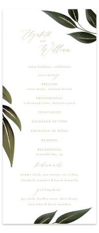 Cascading Vine Foil-Pressed Wedding Programs