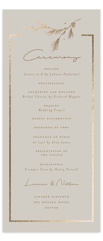 Burnished Foil-Pressed Wedding Programs