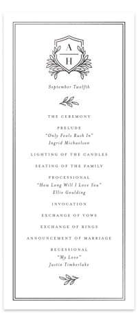 Chic Monogram Foil-Pressed Wedding Programs
