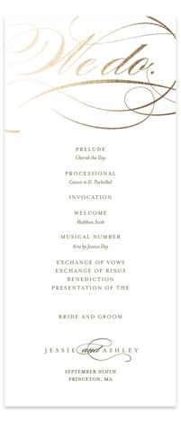 We Do. Foil-Pressed Wedding Programs