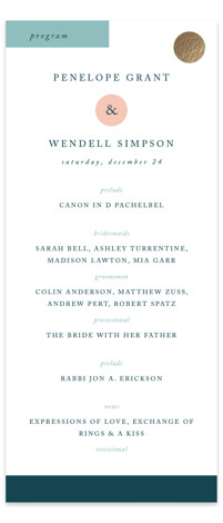 Paradigm Pair Foil-Pressed Wedding Programs