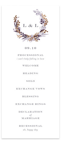 gilded wreath Foil-Pressed Wedding Programs