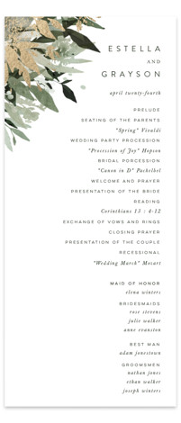 Flourishing Edge Foil-Pressed Wedding Programs