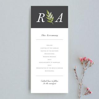 Watercolor Leaf Wedding Programs