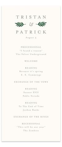 Watercolor Laurels Wedding Programs