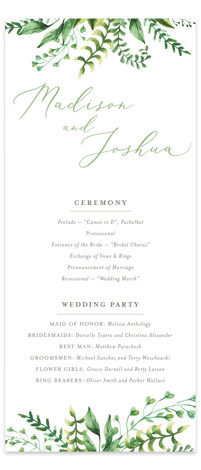 Bright & Green Wedding Programs