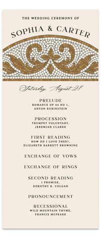 Floral mosaic Wedding Programs