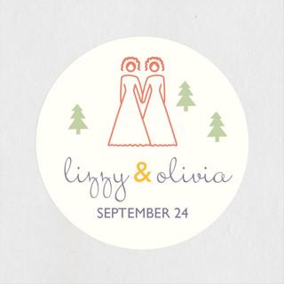 Two Brides Destination Wedding Favor Stickers