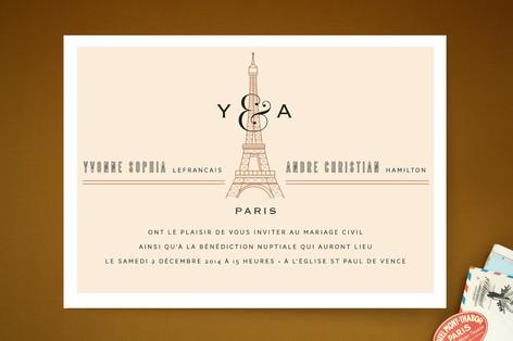 Classic Eiffel Tower Print-It-Yourself Wedding Invitations