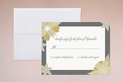 Charcoal and Floral Print-It-Yourself RSVP Cards